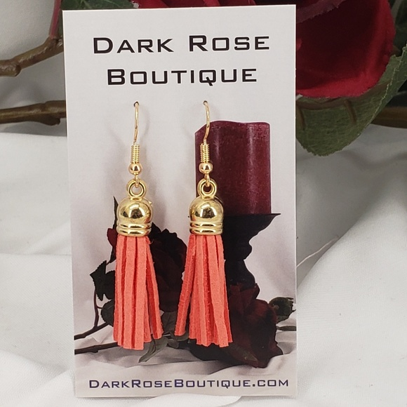 Dark Rose Boutique Jewelry - Fun Salmon Colored Tassels on French Hooks.